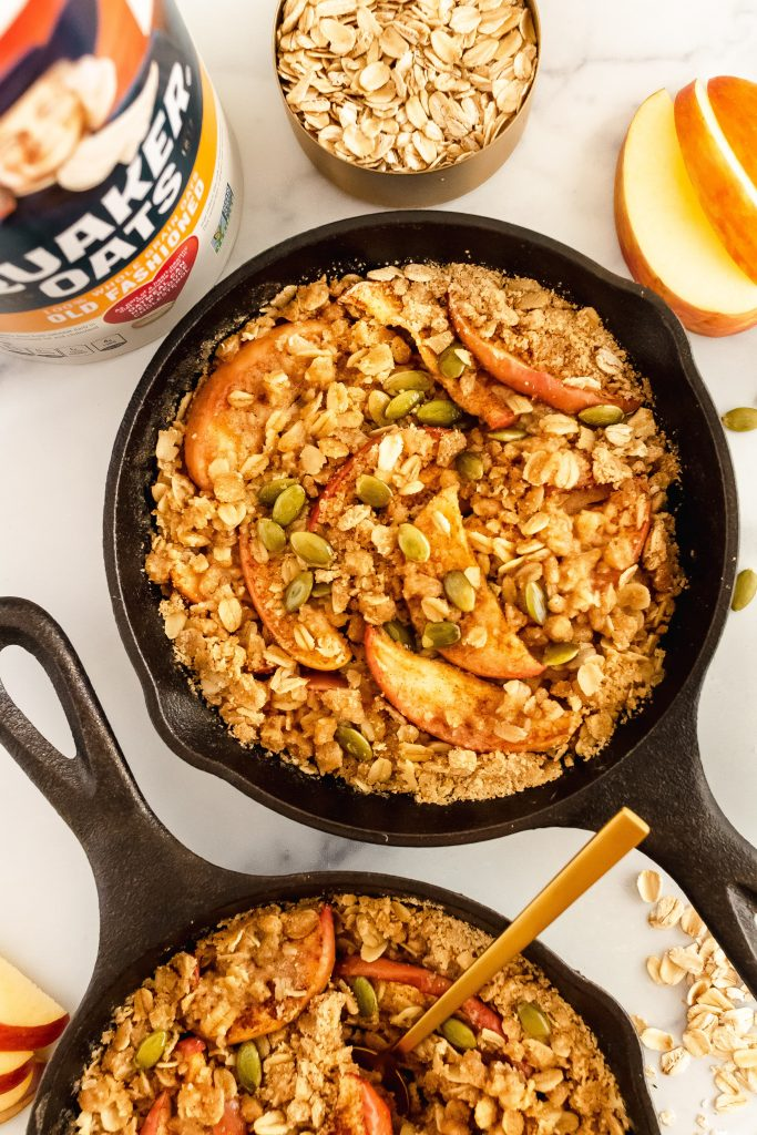 apple crisp with oats, chai spices and pumpkin seeds