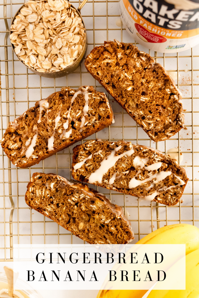 gingerbread loaf made with bananas and oats