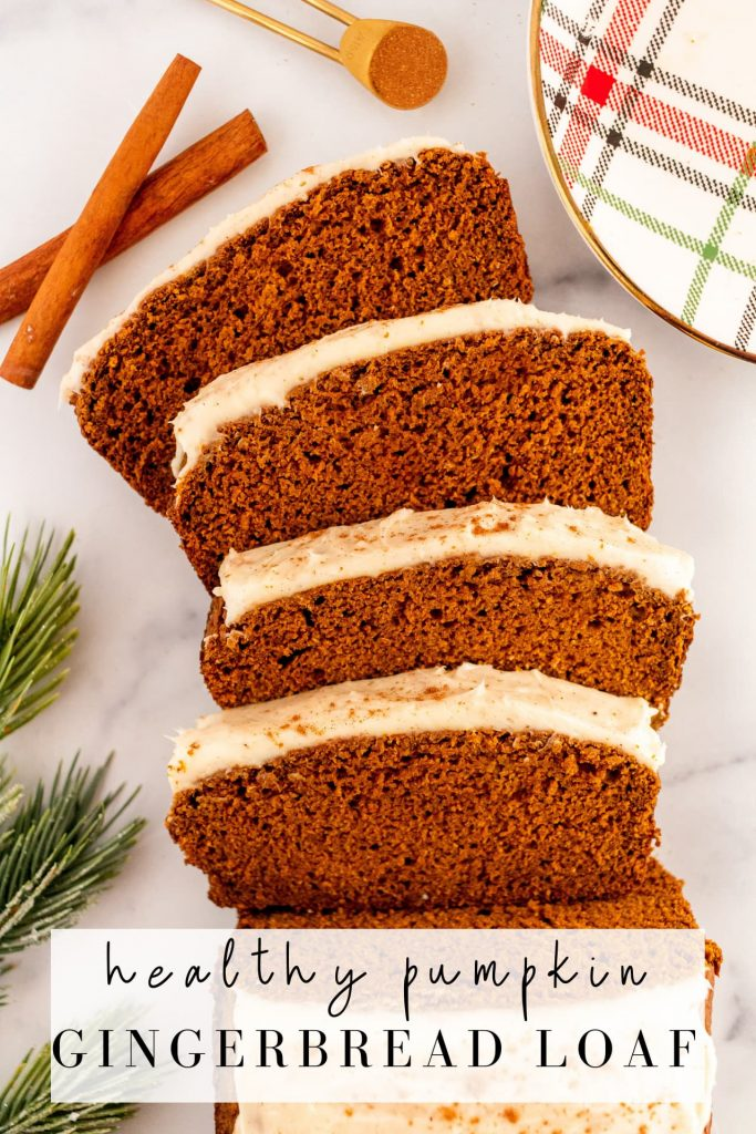gingerbread loaf with pumpkin puree, spices and molasses