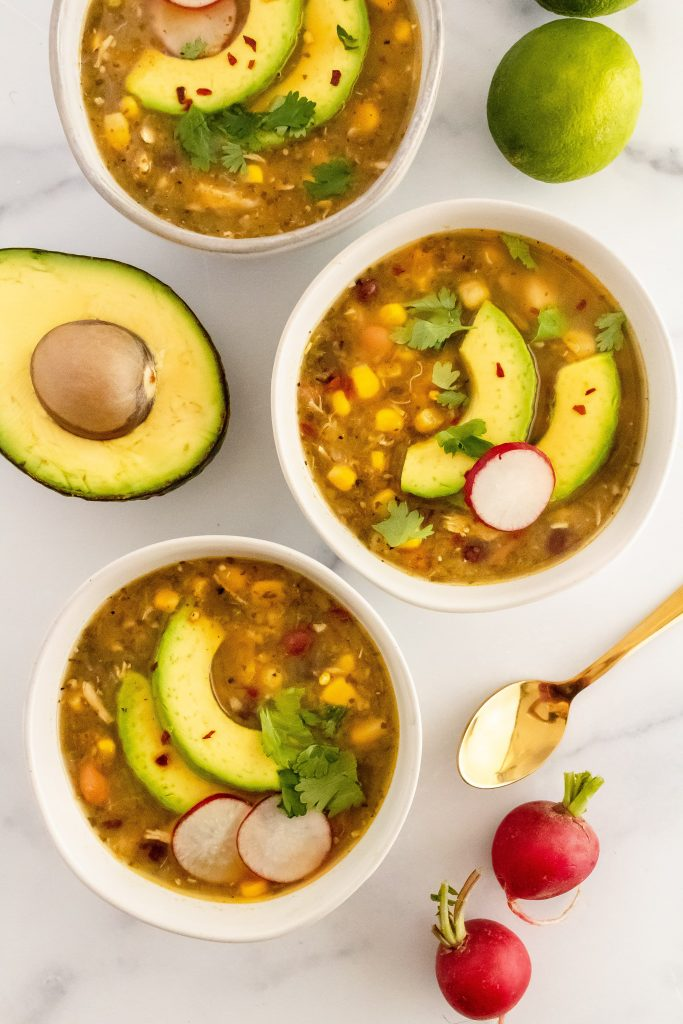 best healthy roasted tomatillo soup with chicken, beans and lime