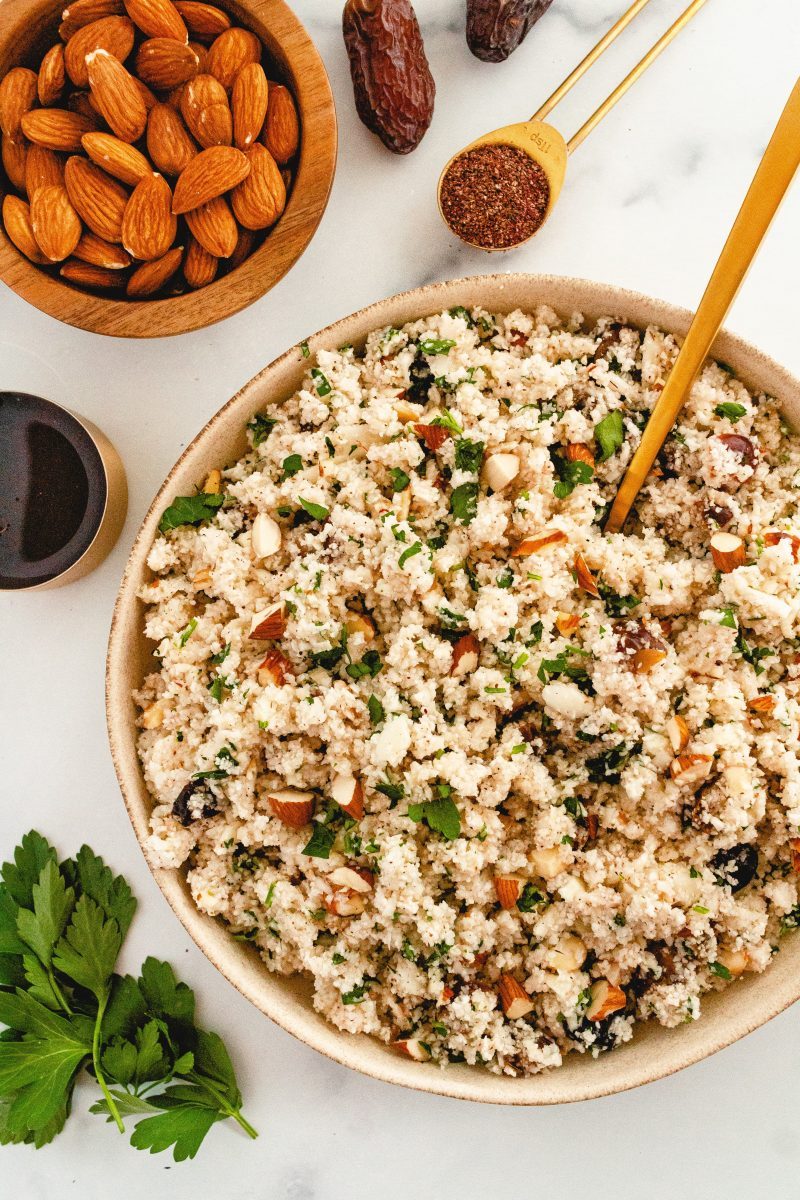 cauliflower couscous with dates, almonds and parsley