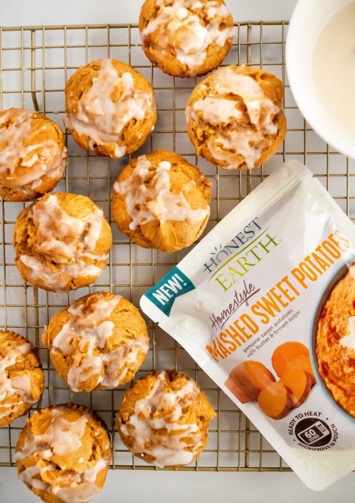 glazed sweet potato muffins made with simple ingredients