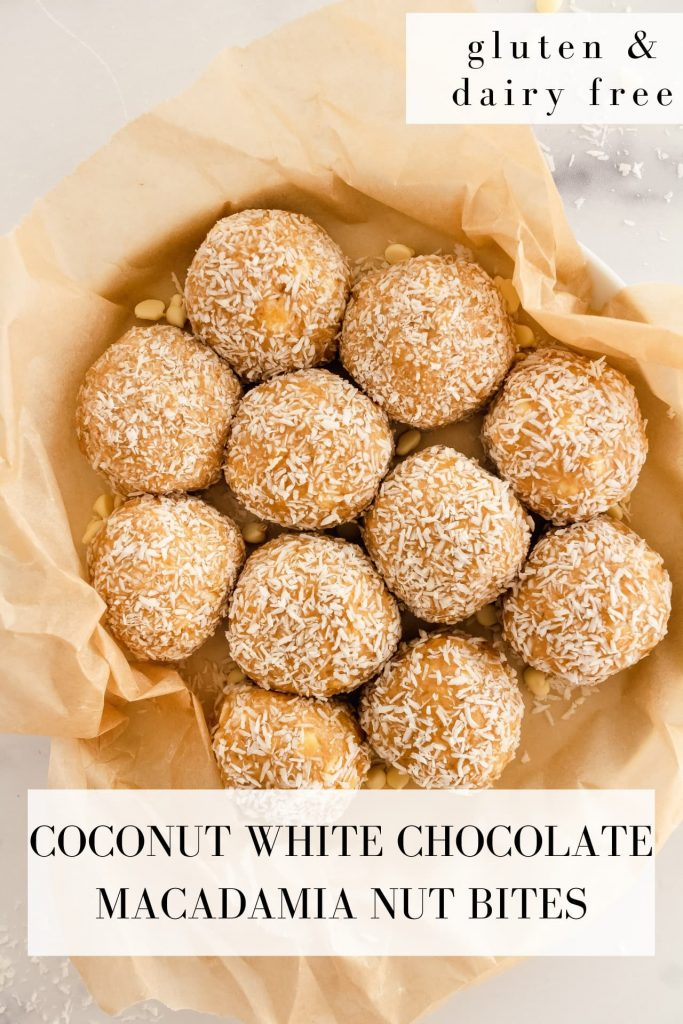 gluten and dairy free coconut white chocolate macadamia nut bites