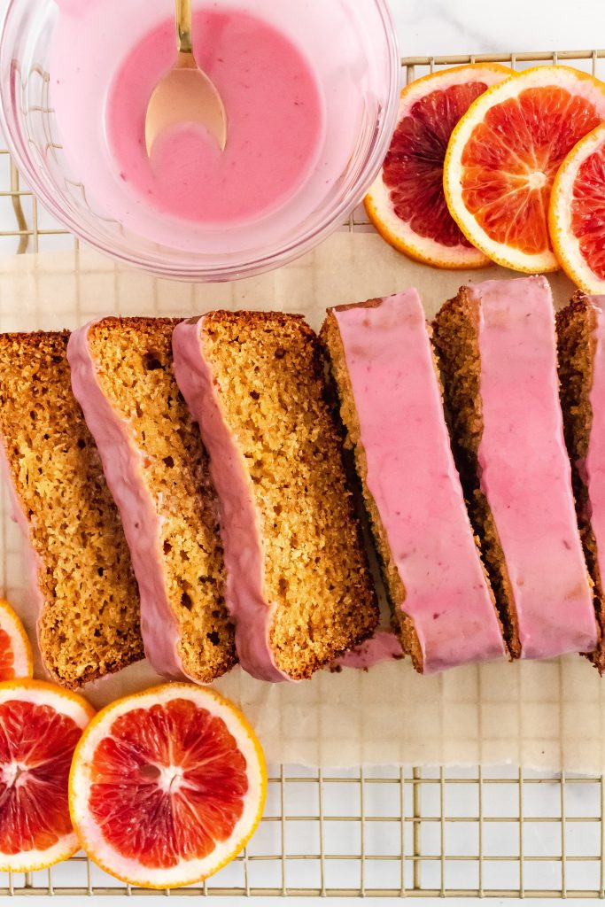 almond flour blood orange loaf with blood orange glaze