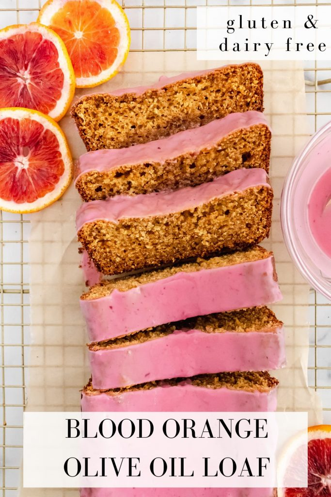 gluten and dairy free blood orange olive oil loaf with blood orange icing