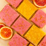 gluten free lemon bars with blood orange glaze