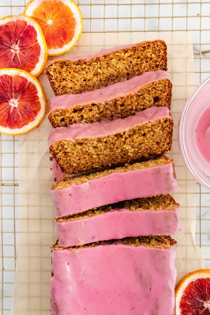 healthy blood orange loaf made with almond and oat flour and olive oil and yogurt for an extra moist texture