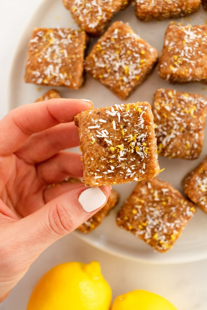 no bake lemon bars with dates, almonds, coconut and collagen