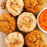 gluten free pumpkin carrot muffins with dairy free cashew cream cheese frosting