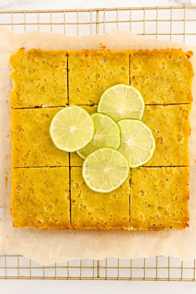 lime shortbread bars with coconut and matcha