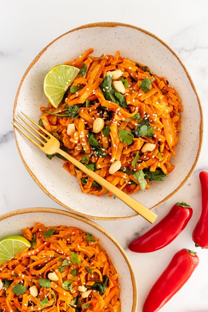 spicy thai red curry noodles