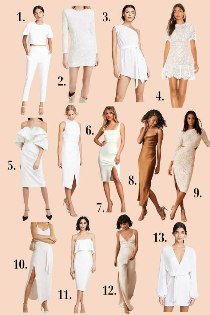 wedding rehearsal dinner white dresses and jumpsuits