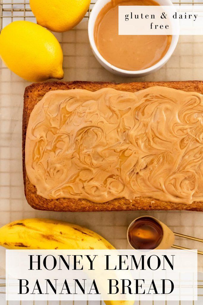 honey lemon banana bread made with almond flour, oat flour, yogurt and bananas