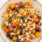 tomato and herb white bean salad with olives and roasted red pepper