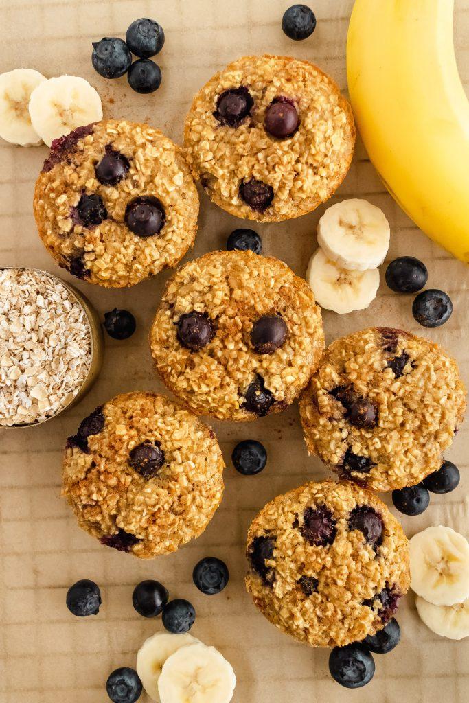 gluten free blueberry banana oat muffins