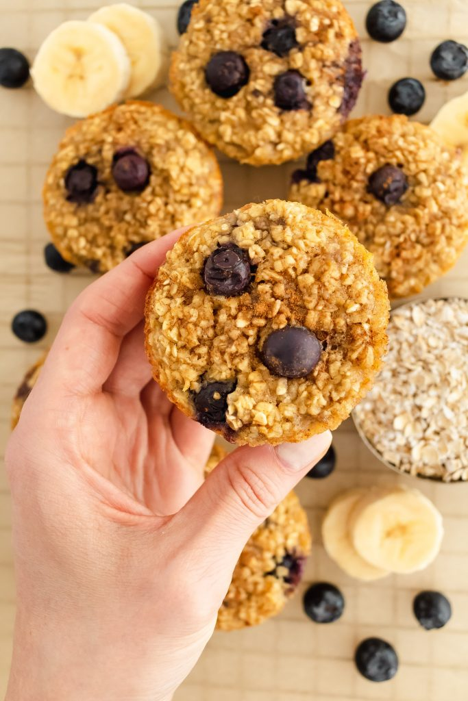 no flour blueberry banana muffins made with oats