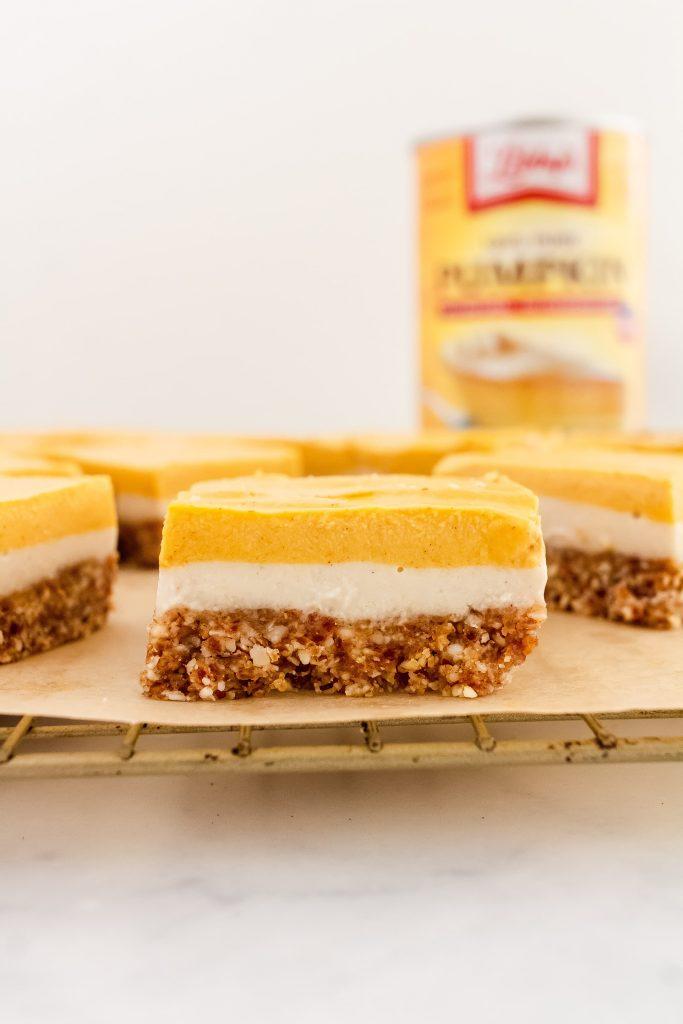 dairy free no bake layered pumpkin cheesecake bars made with libbys pumpkin
