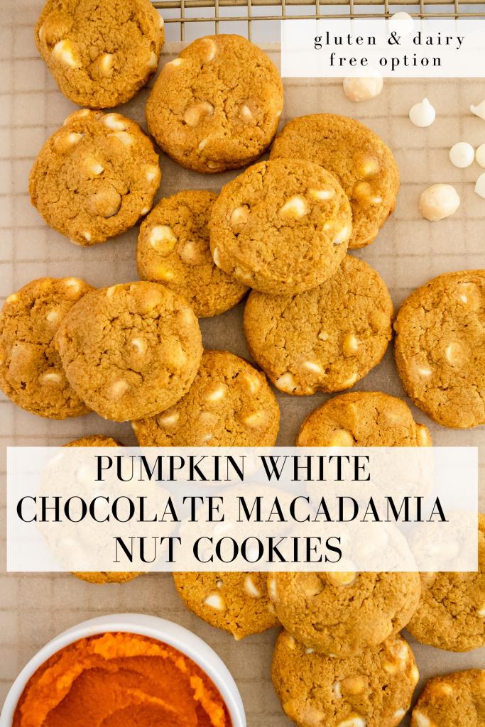 healthy pumpkin white chocolate macadamia nut cookies