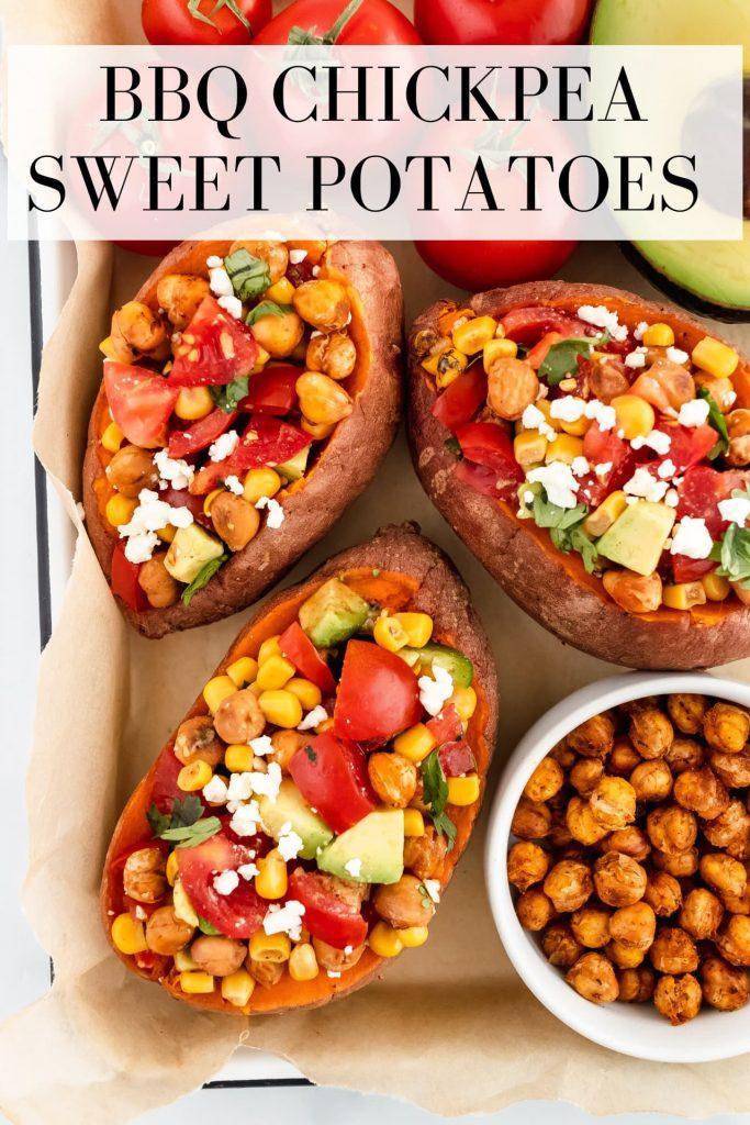 how to make BBQ chickpea sweet potatoes