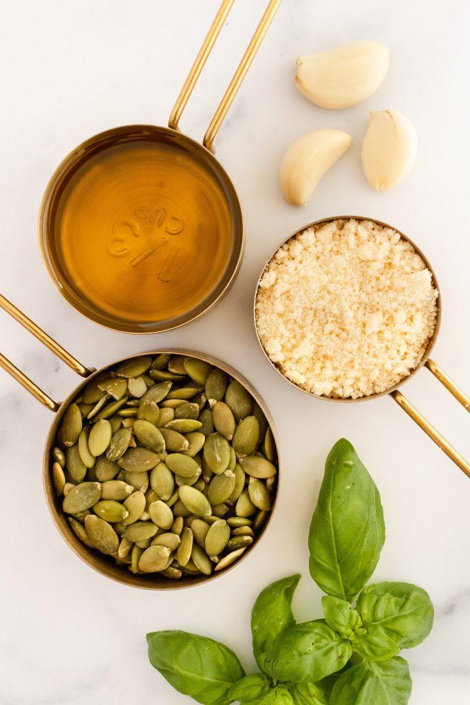 ingredients for pumpkin seed pesto