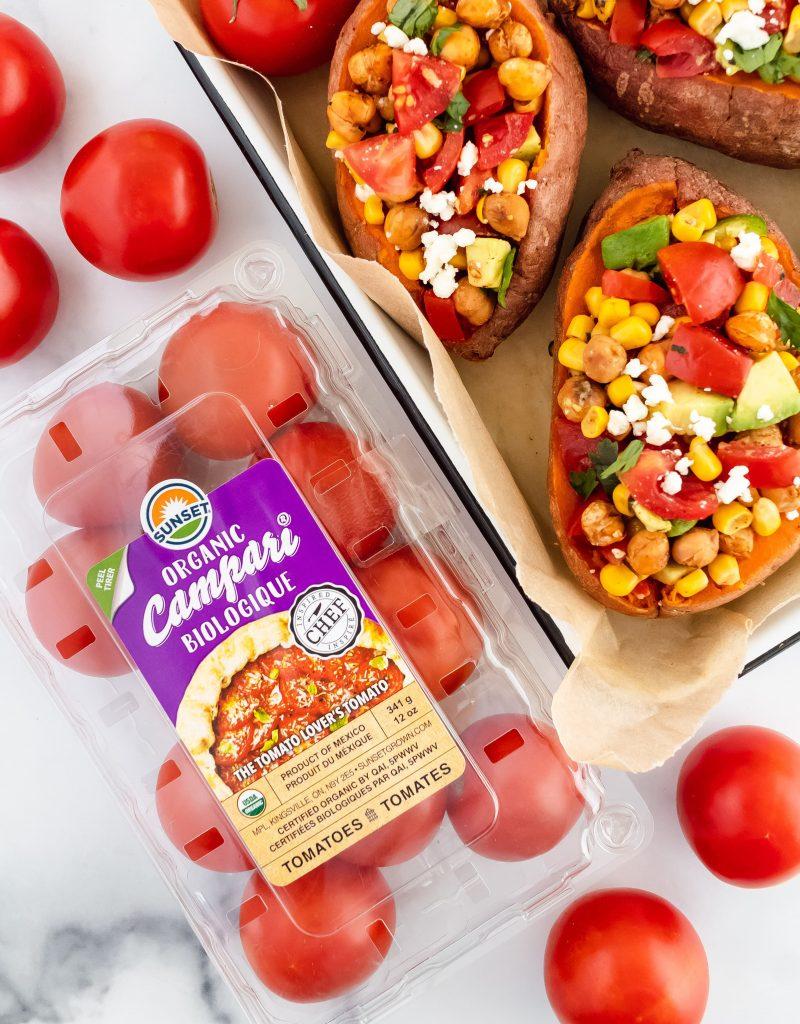 plant-based tomato chickpea sweet potatoes