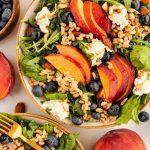 summer-salad-with-blueberries-peaches-burrata-farro-almonds-and-balsamic-vinaigrette