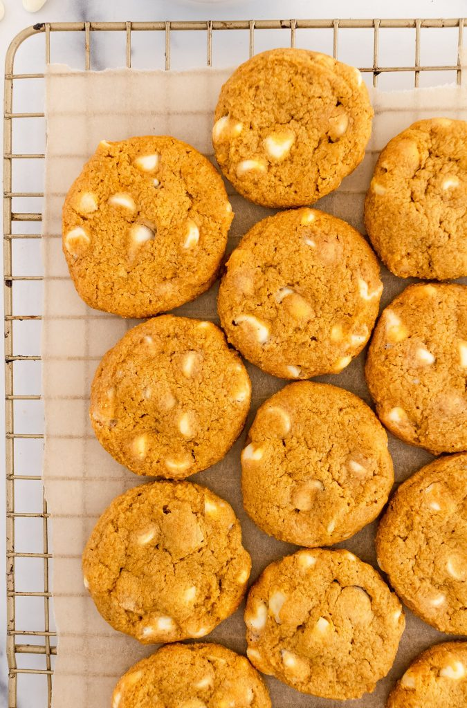 thin and crispy pumpkin cookies with white chocolate chips and macadamia nuts