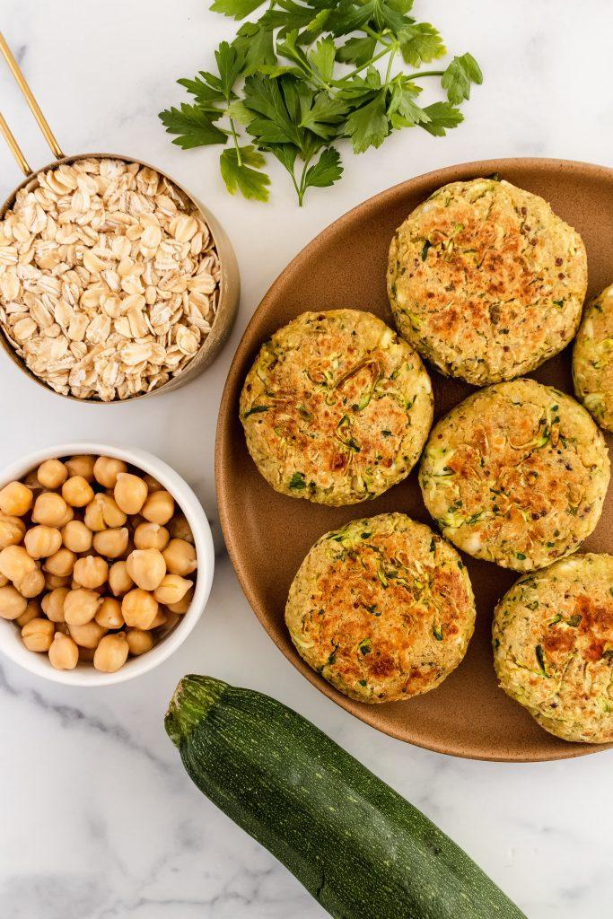 plant based zucchini quinoa oat burgers