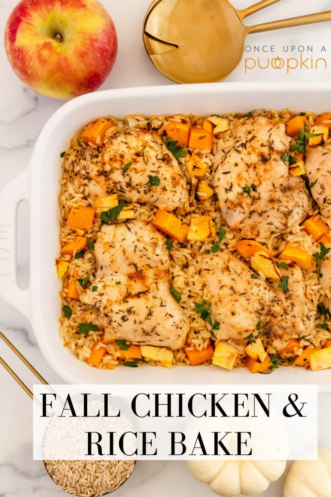 baked chicken and rice with butternut squash, and apple