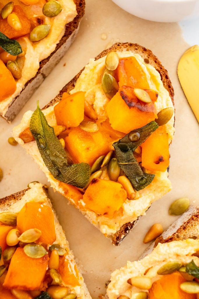 best fall toast with pumpkin honey ricotta