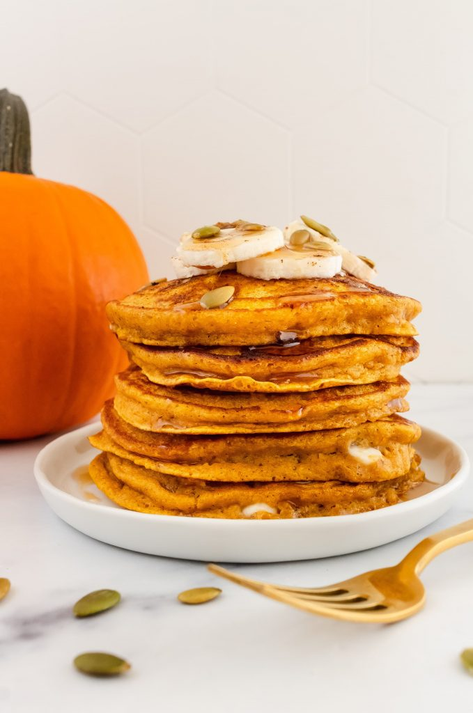 healthy pumpkin protein pancakes with white chocolate chips