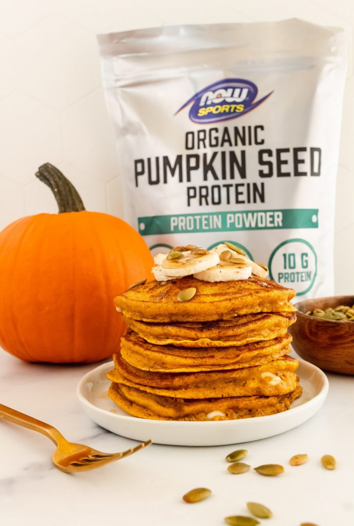 pumpkin pancakes made with organic pumpkin seed protein powder