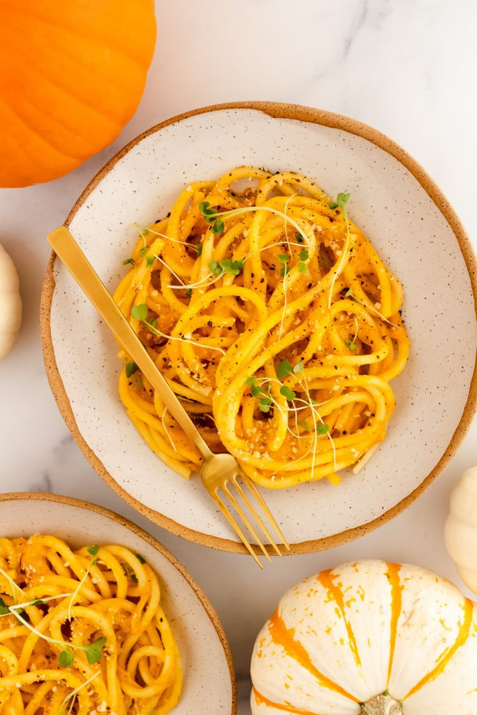 pumpkin pasta with cheese and pepper