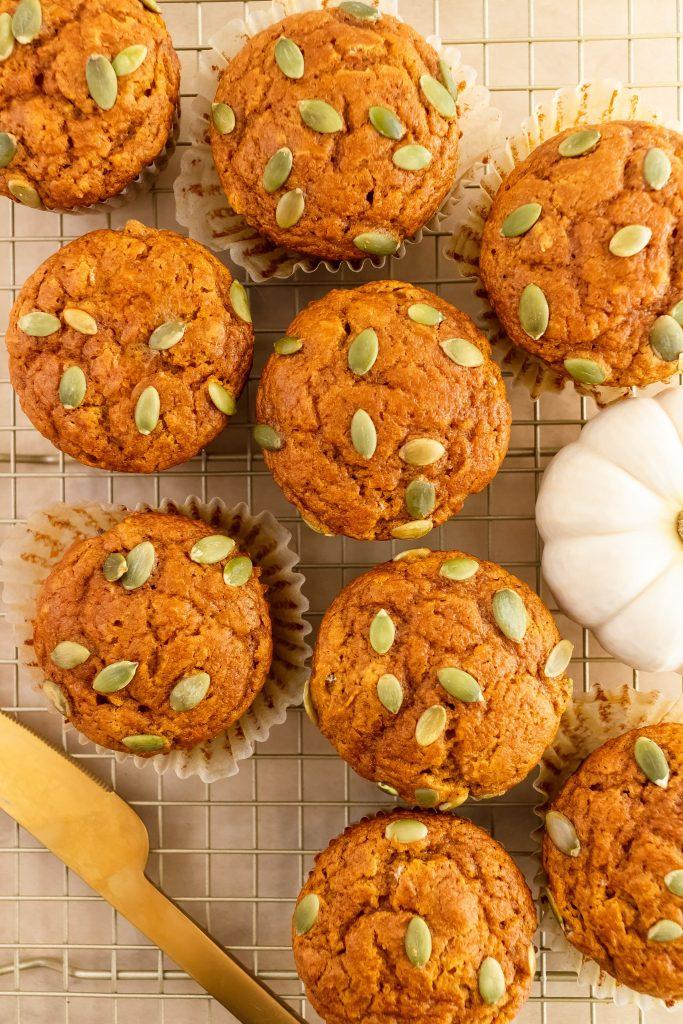 easy whole wheat fluffy pumpkin muffins